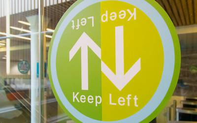 Covid-19 wayfinding signage on campus