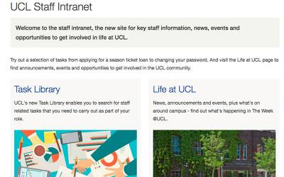 UCL Staff Intranet frontpage