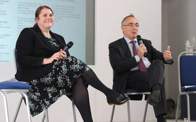 The Provost and Fiona Ryland answering questions at the inaugural Welcome Event