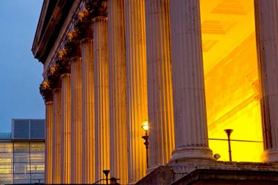 UCL Portico in the evening