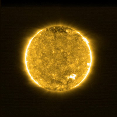 Solar orbiter view of sun showing 'campfires'