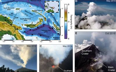 Photos of volcano at stages of eruption