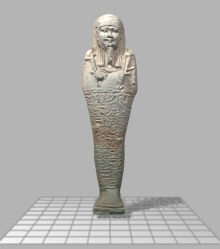 Shabtis such as this are stored in drawers in custom-made holders and protective cases. if you rotate the object you can see the complicated shape that has to be incorporated into the case design.