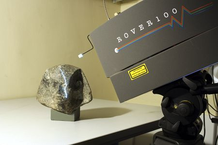 Stone head UC14363 being laser scanned