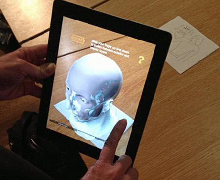 App showing facial reconstruction over skull UC31176