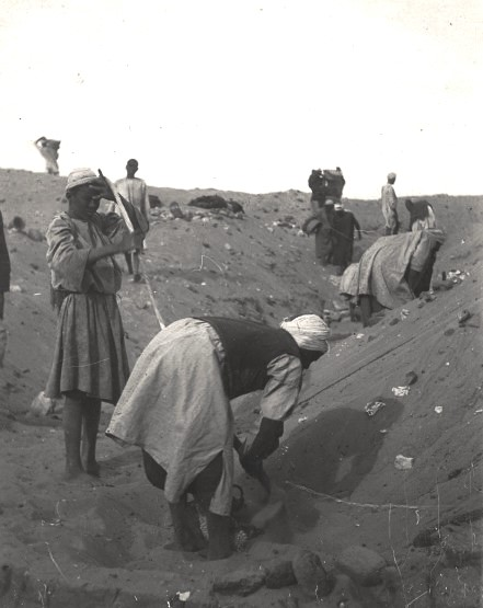Excavations at the tomb of Den at Abydos. Photo from the Petrie Museum archive.