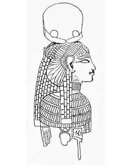 Drawing of menat. From Petrie, Illahun, Kahun and Gurob, 1891: pl. XXII