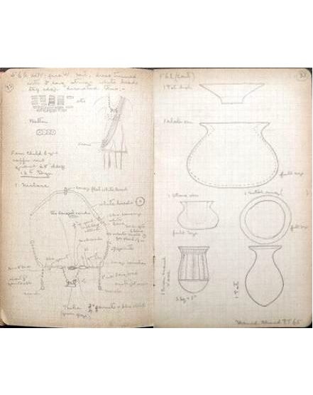 Pages from Hynes' Sedment notebook. From the Petrie Museum archive.