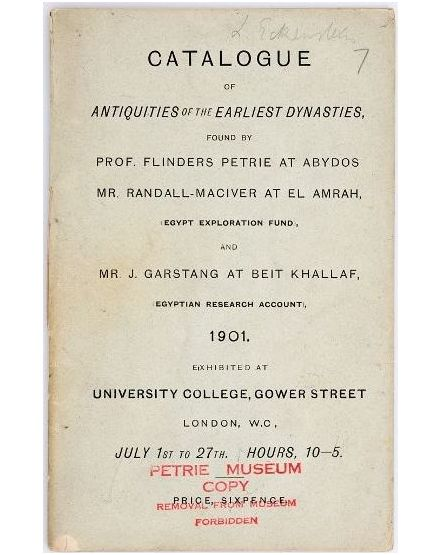 Catalogue from the 1901 Exhibition. From the Petrie Museum archive.