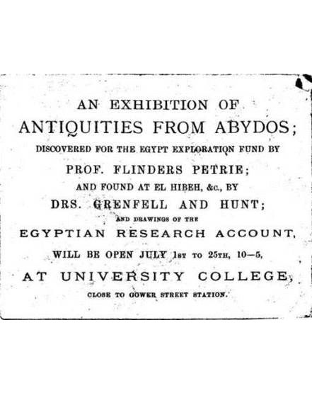 Exhibition invitation for Abydos excavations. From the Petrie Museum archive.