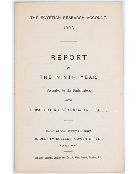 Report for the Ninth Year, Egyptian Research Account, 1903. From the Petrie Museum archive.