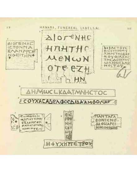 Drawings of name tags from Hawara. From Petrie, Hawara, Biahmu and Arsinoe, 1911: pl. VII.