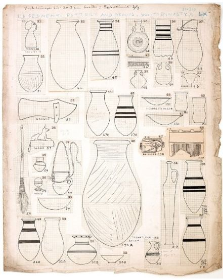Mock-up of drawings of objects from Sedment for publication. From the Petrie Museum archive.