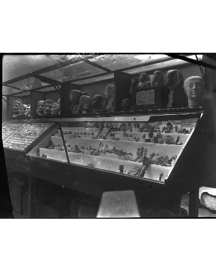Photograph of a display case in the museum in 1915. From the Petrie Museum archive.