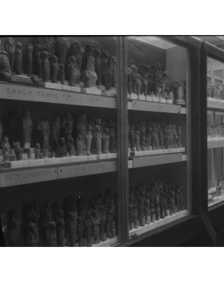 Photograph of the shabti display in the museum in 1915. From the Petrie Museum archive.