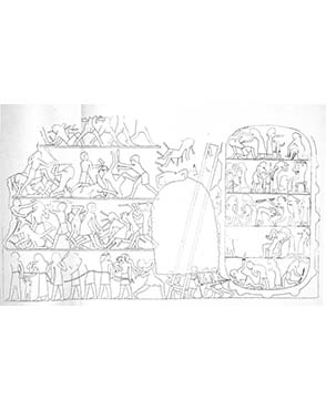 Drawing of the battle scene from the tomb of Inti. Petrie, Deshasheh: 1897, pl. IV.