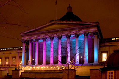 UCL portico at night