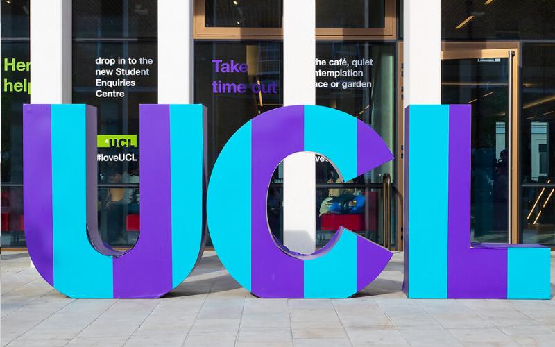 UCL giant purple letters