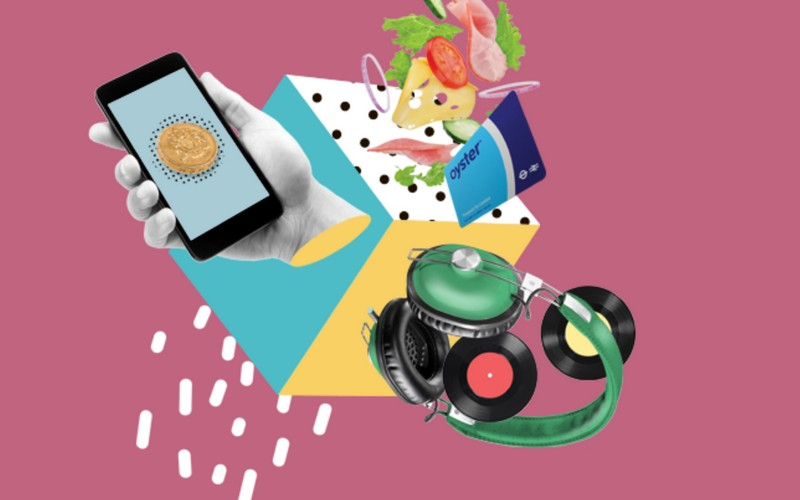 Collage of a hand holding a smartphone, a salad, oyster card, green headphones and vinyl records