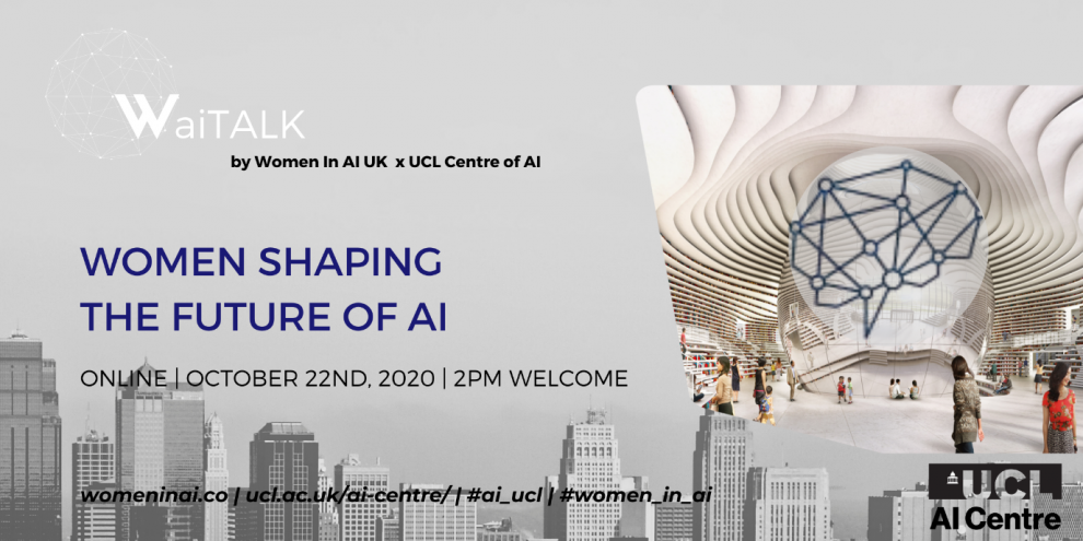 Women in AI Logo with details of the event