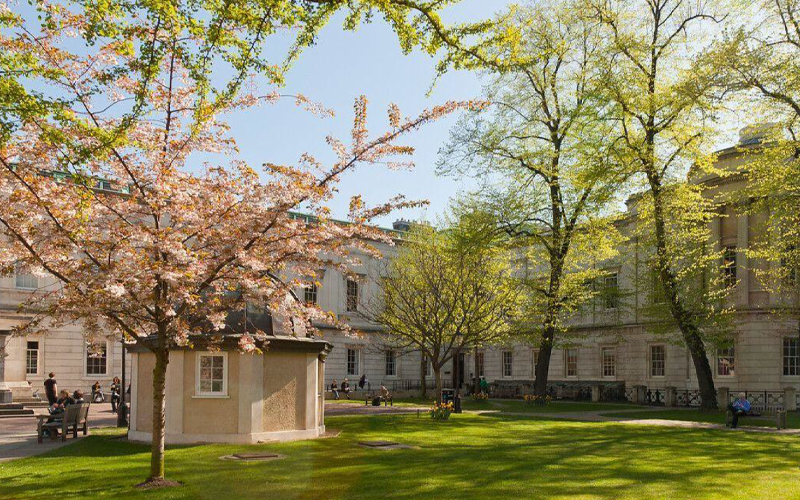 UCL's front quad at springtime