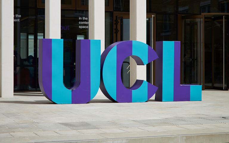 UCL giant letters installation
