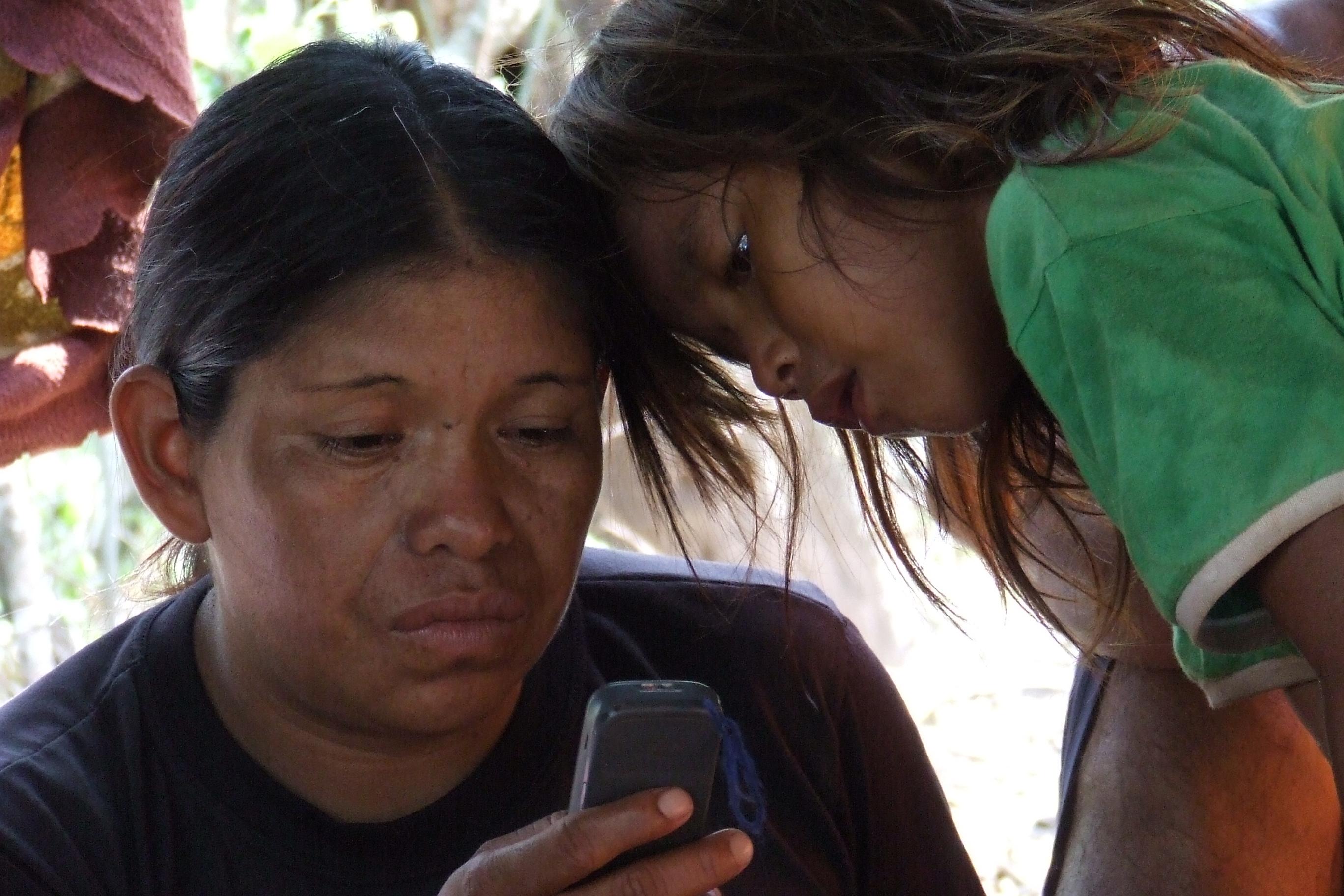 Girl and Woman on Smart Phone
