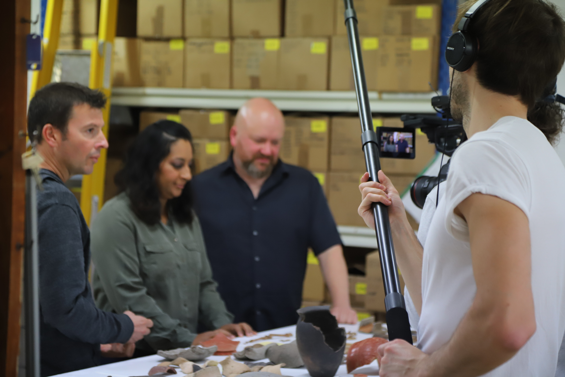 filming digging for britain in ASE labs