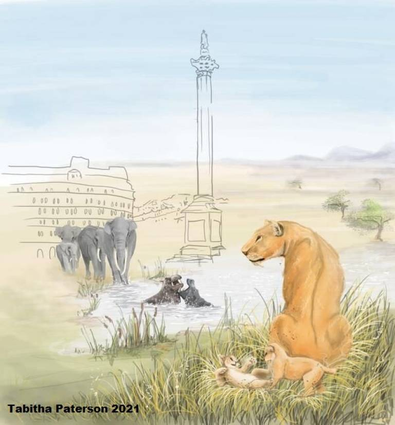 Artwork showing a warm, grassland-like landscape. It features a sabre-toothed cat and kittens, two hippos swimming, and four straight-tusked elephants. A sketch of Nelson's column is superimposed over the landscape. Copyright Tabitha Paterson 2021.