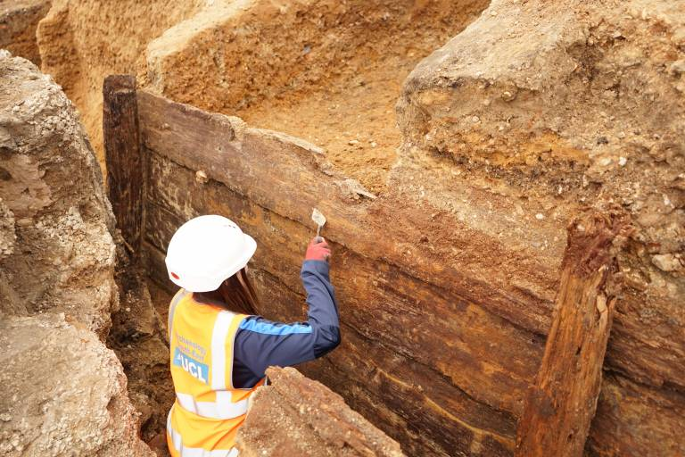 Archaeologists excavating the timber structure