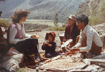 Dr Ann Kendall, on the right, during the early years of the Cusichaca Project, talking with Victor Pacheco at Chamana, Dept. of Cuzco, Peru