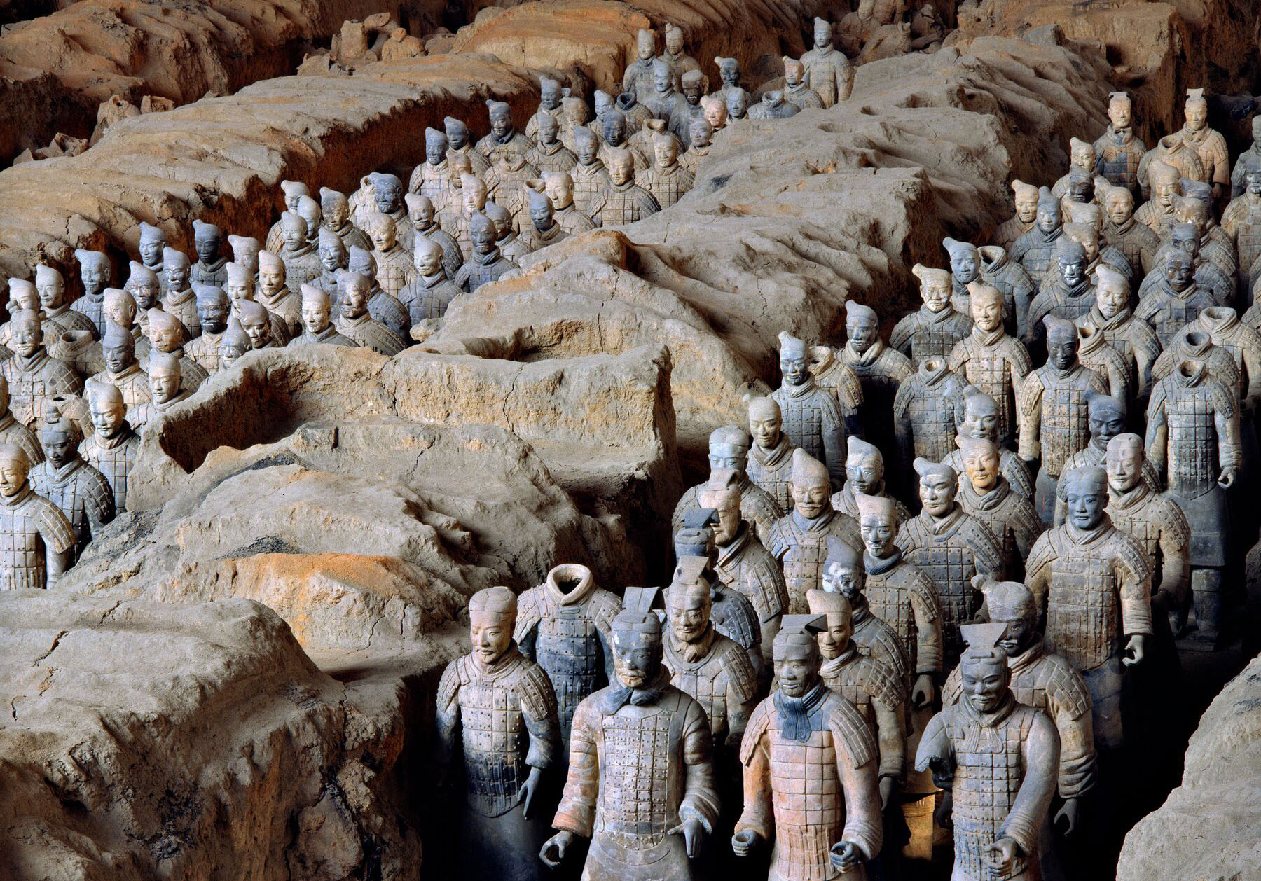 View of Pit 1 of the Terracotta Army showing the hundreds of warriors once armed with bronze weapons. Photo Xia Juxian.