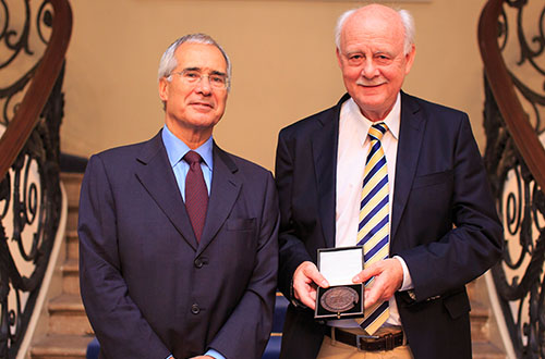 Professor Kristian Kristiansen (right), speaker at the annual Gordon Childe Lecture in February 2018, receiving the Graham Clark medal from the British Academy in 2016 (Photo: British Academy).