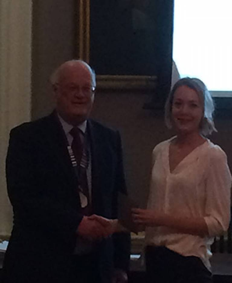 Victoria Ziegler being awarded the RAI Master's Dissertation Prize for 2016-17