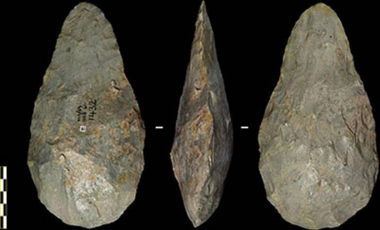 Oldowan core from Olduvai Gorge c.1.6 mya; Acheulean handaxe from Olduvai Gorge c.1.6mya. ©Tomos Proffitt