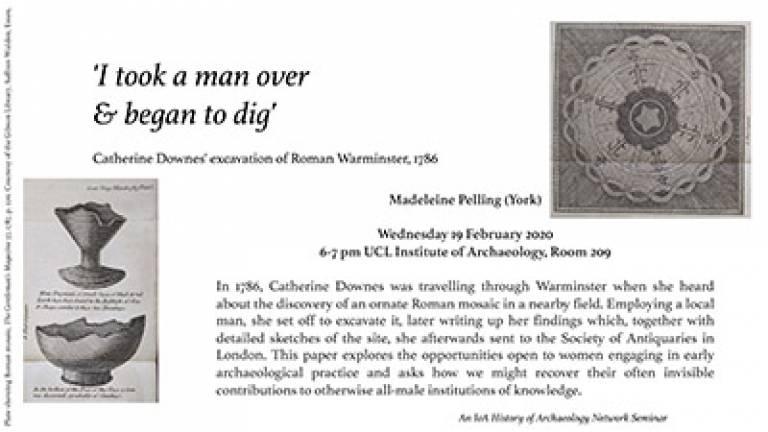 IoA History of Archaeology seminar: Catherine Downes' excavation of Roman Warminster, 1786