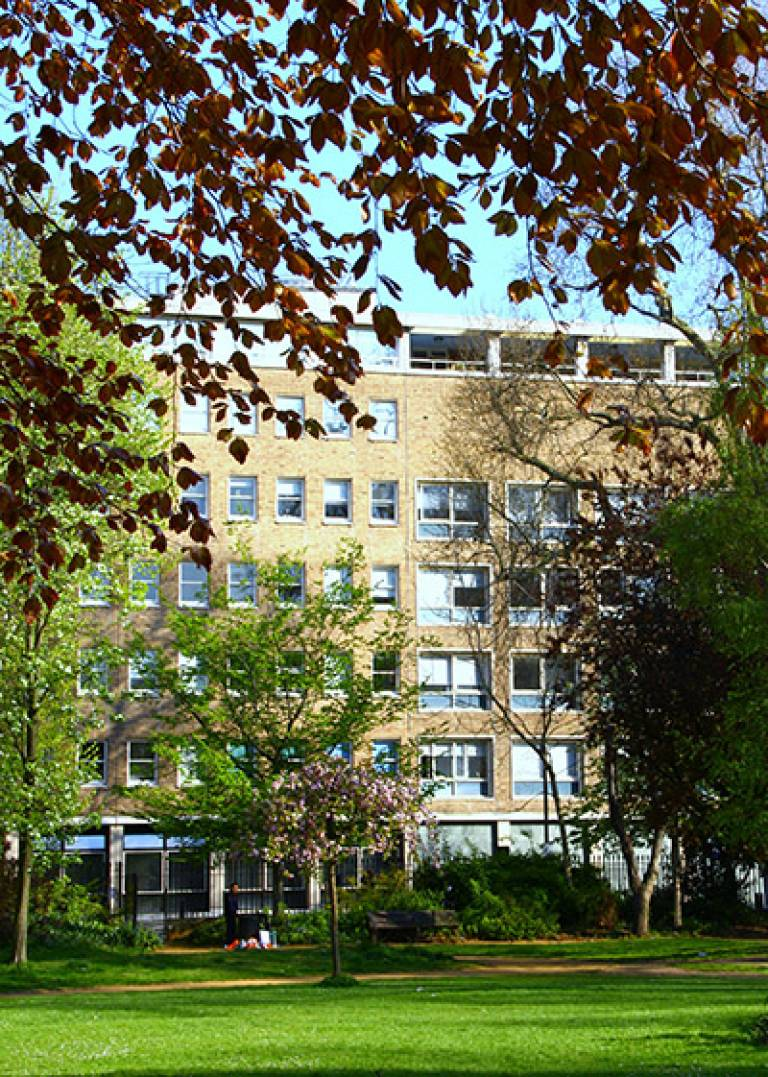View of UCL Institute of Archaeology from Gordon Square Gardens (Image: Lisa Daniel)