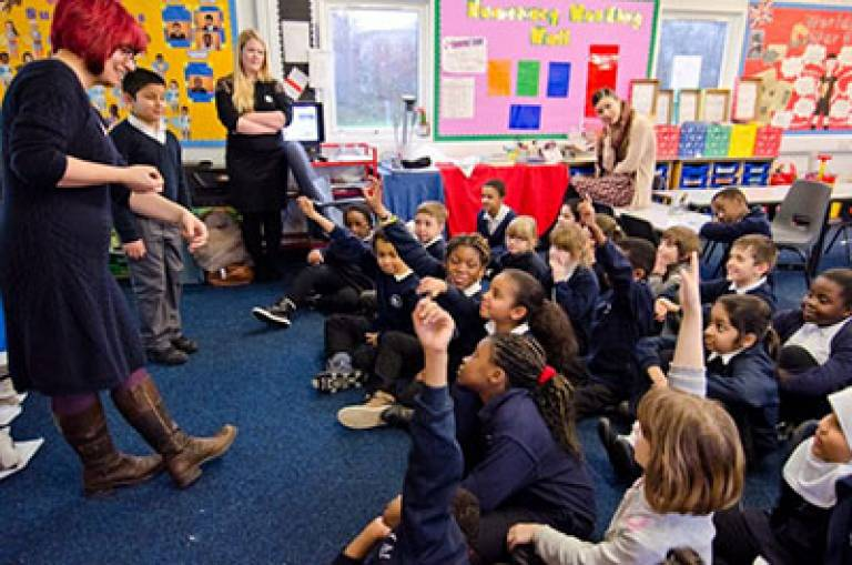 Sarah Dhanjal in action at a primary school (Image courtesy of UCL PEU)