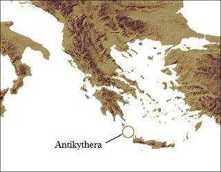 Location of the Greek island of Antikythera between the Aegean and central Mediterranean (Image by Andrew Bevan).