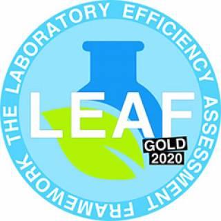 LEAF Gold Award logo (Laboratory Efficiency Assessment Framework)