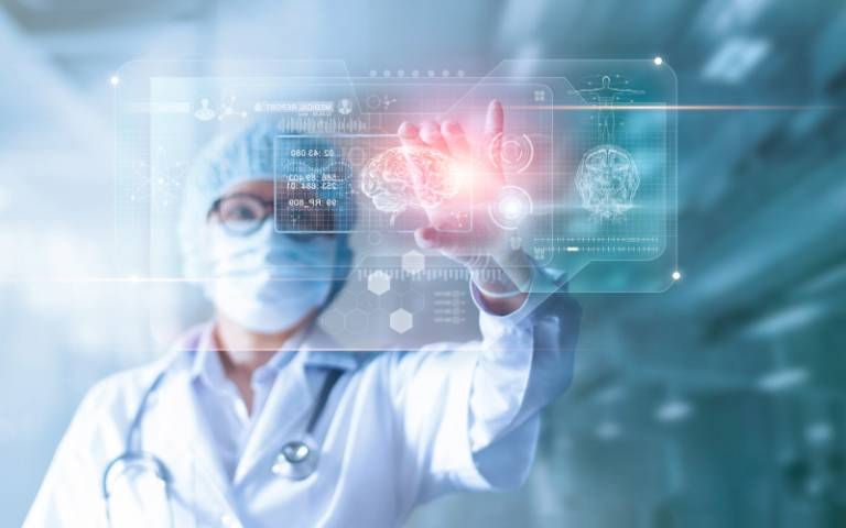 Image of doctor using touchscreen