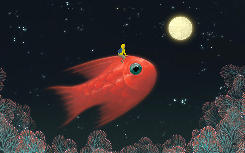 Abstract image person riding fish to moon