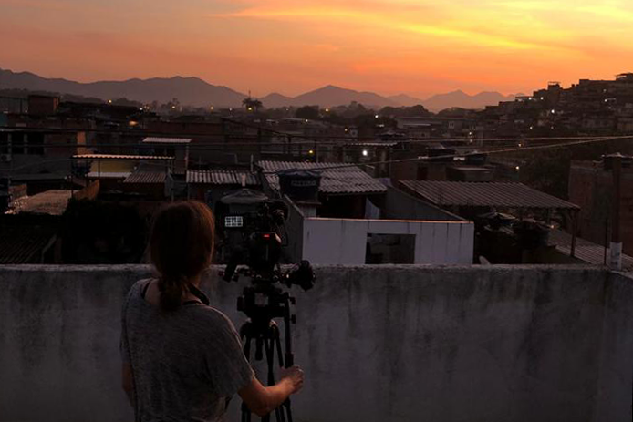 Filming sunset from a rooftop
