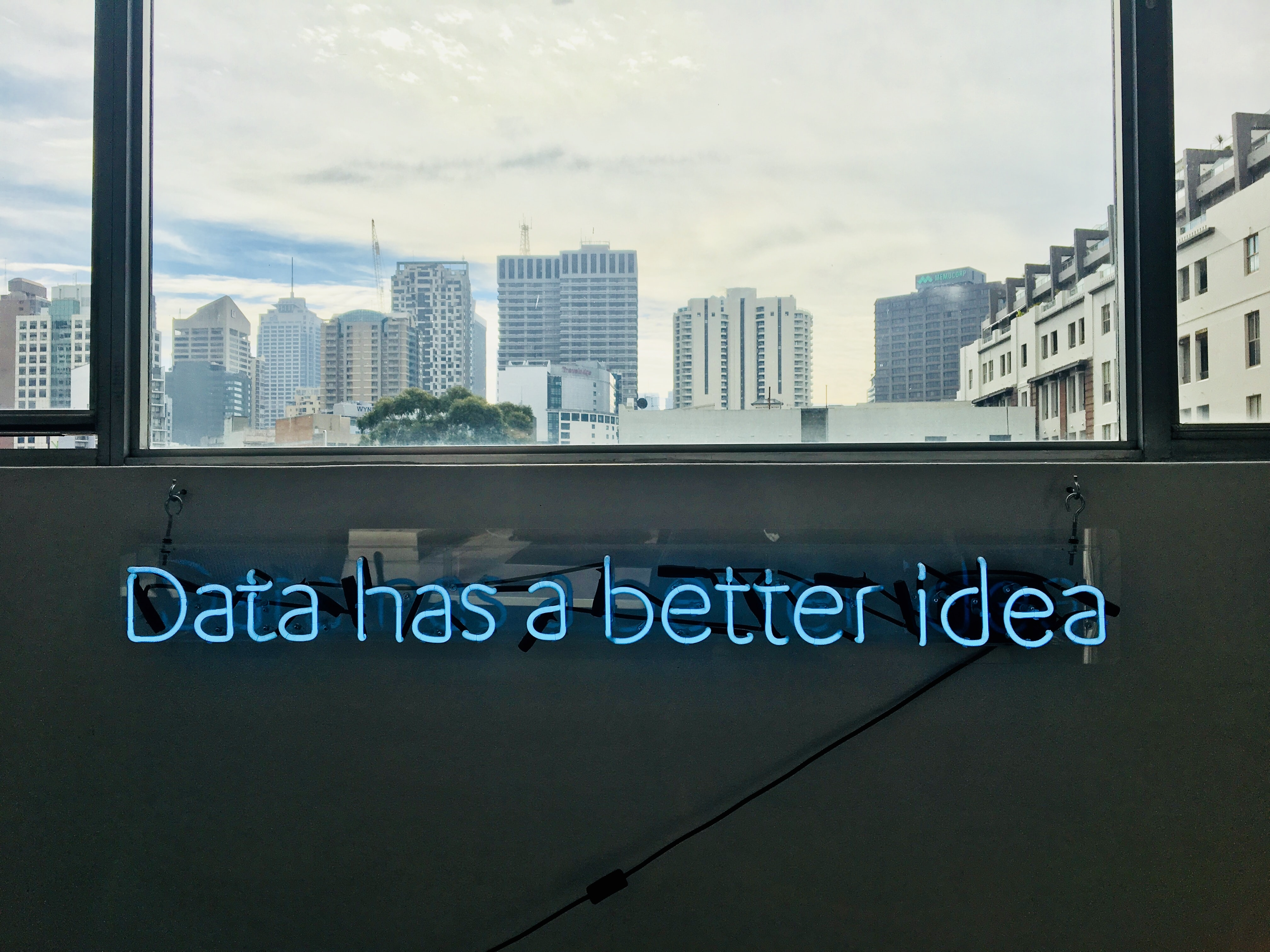 Neon sign with data