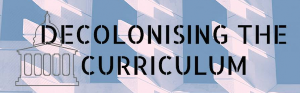 Logo for Decolonising the Curriculum - Portico outline on blue and white background