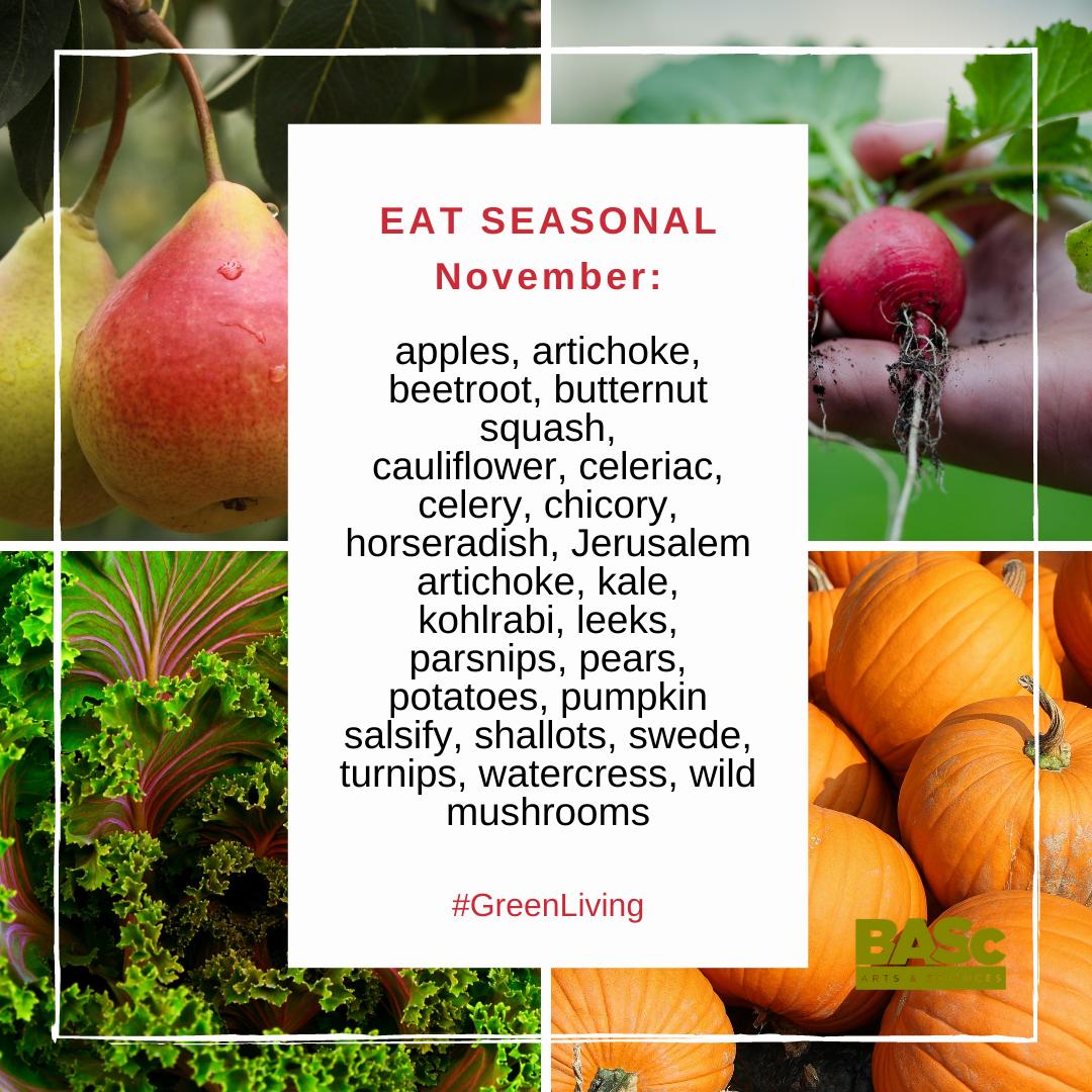 Seasonal foods in November in the UK