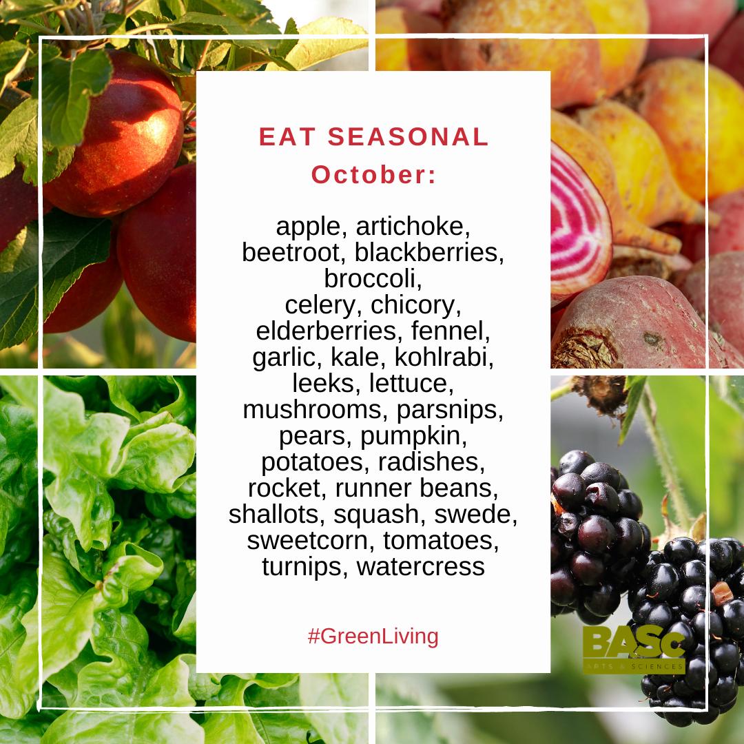 Seasonal food crops in the UK in October