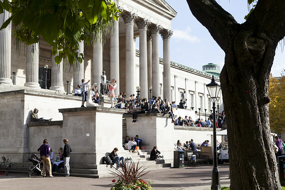 Students on Wilkins Building Steps