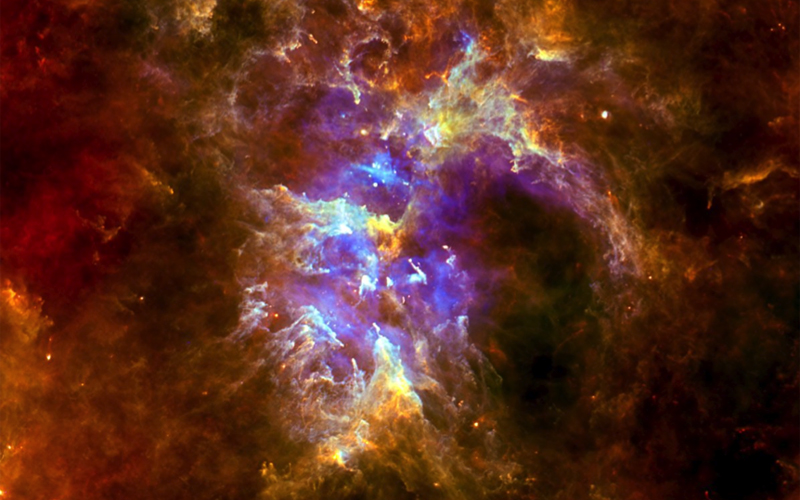 A massive cloud of gas and dust in which stars are forming, in the constellation of Carina. Credit: ESA/Herschel/SPIRE/PACS/Thomas Preisbisch