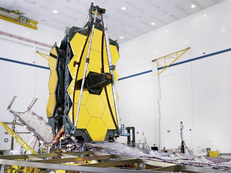 A photo of the James Webb Space Telescope